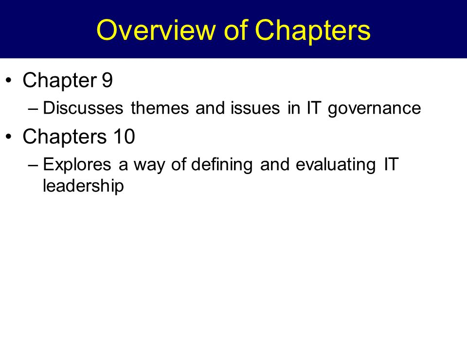 Overview of Chapters Chapter 9 Chapters 10