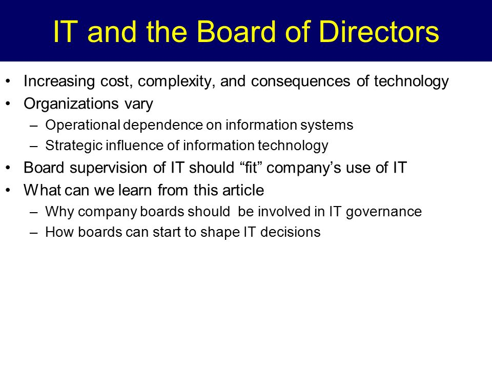 IT and the Board of Directors