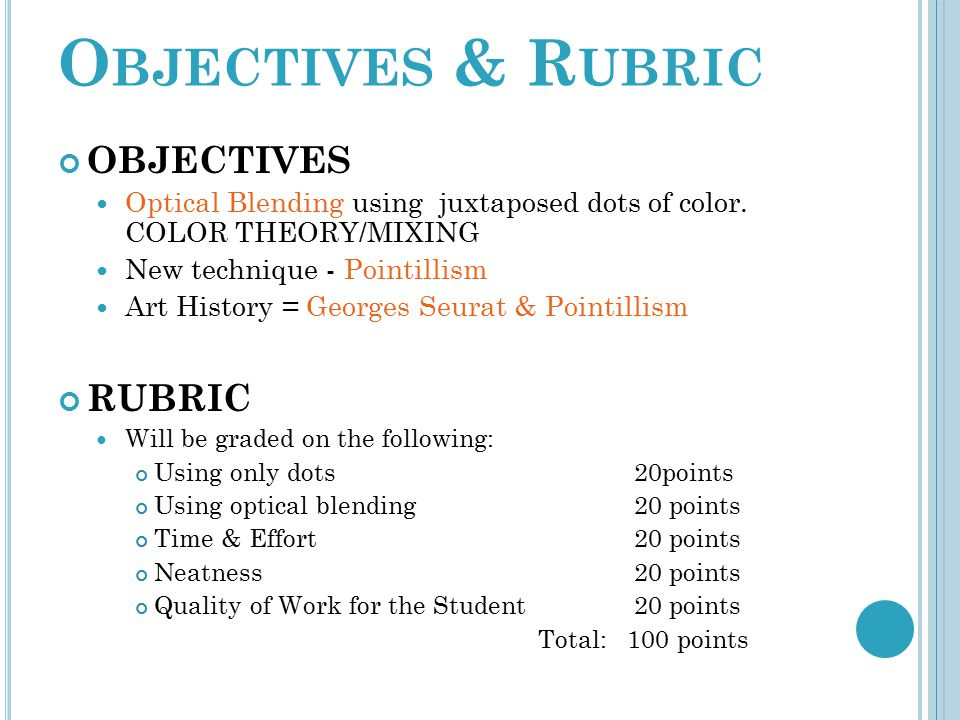 Objectives & Rubric OBJECTIVES RUBRIC