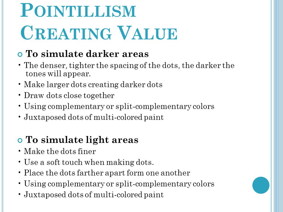 Pointillism Creating Value