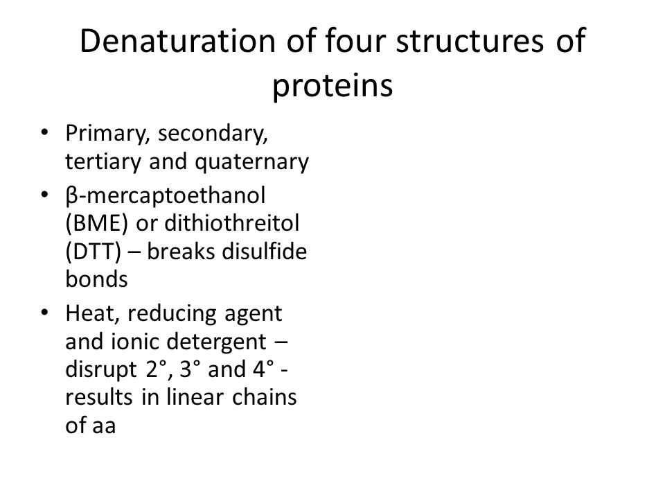 Denaturation of four structures of proteins