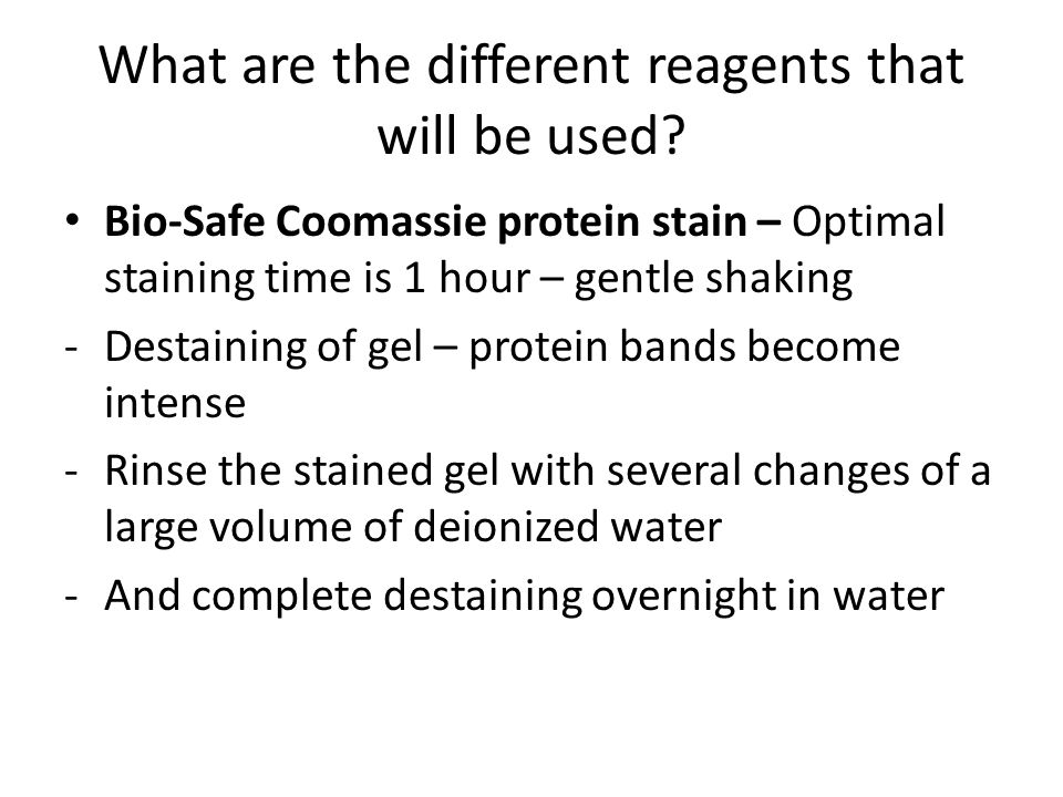 What are the different reagents that will be used