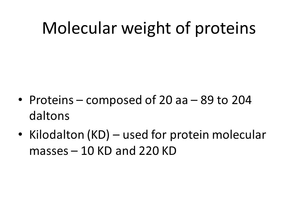 Molecular weight of proteins