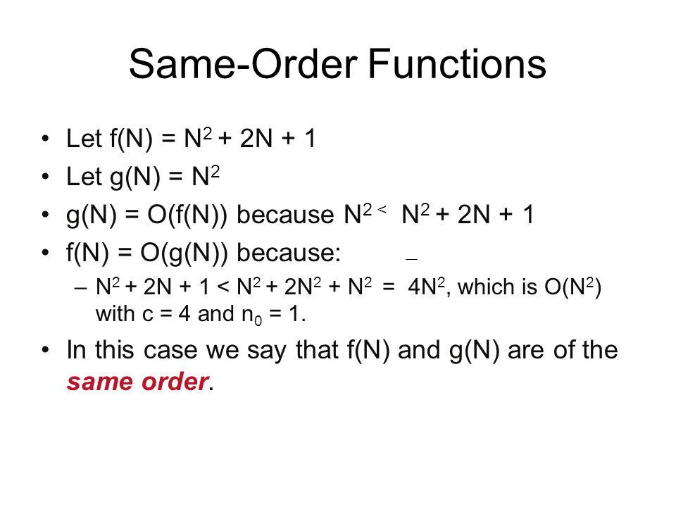 Same-Order Functions Let f(N) = N2 + 2N + 1 Let g(N) = N2