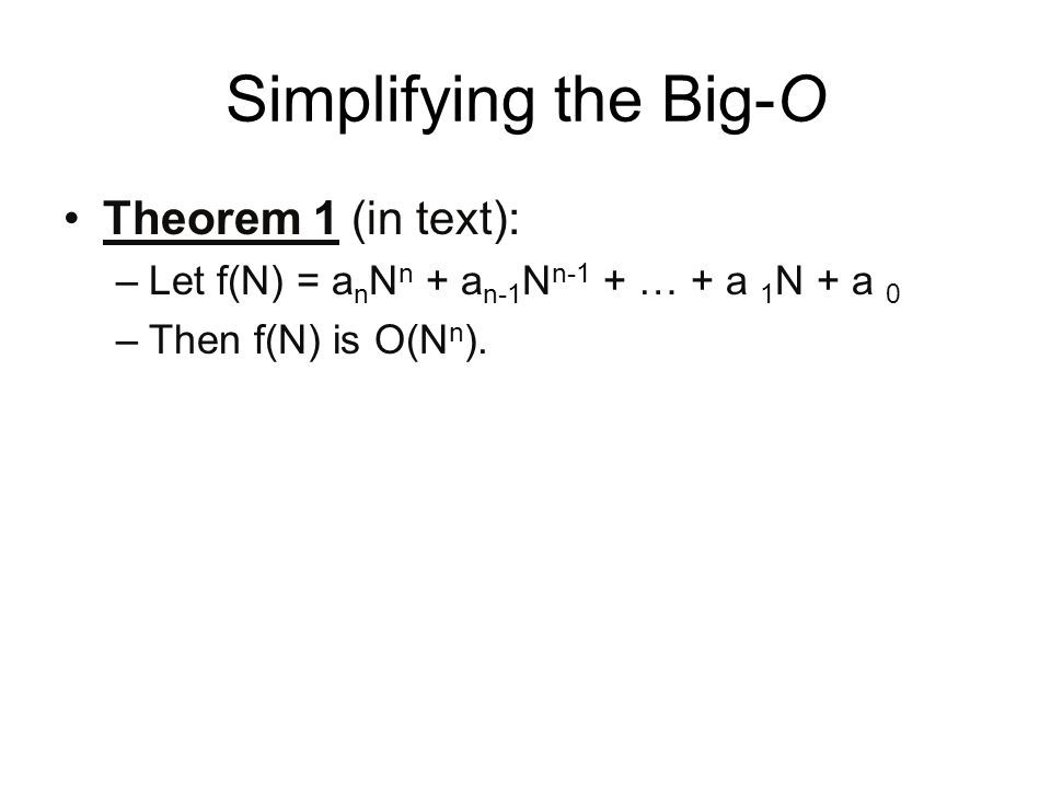 Simplifying the Big-O Theorem 1 (in text):
