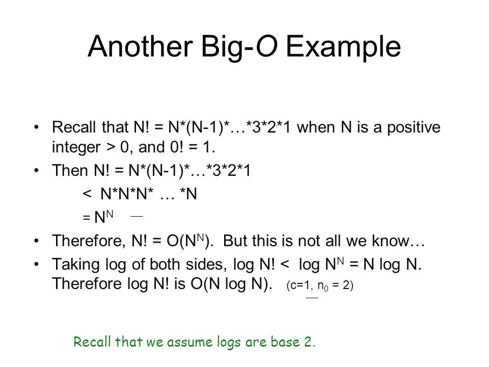 Another Big-O Example Recall that N! = N*(N-1)*…*3*2*1 when N is a positive integer > 0, and 0! = 1.