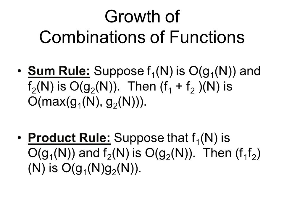 Growth of Combinations of Functions
