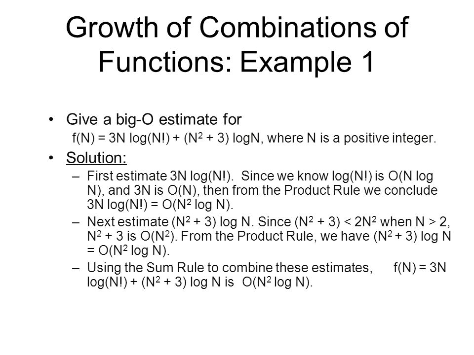 Growth of Combinations of Functions: Example 1