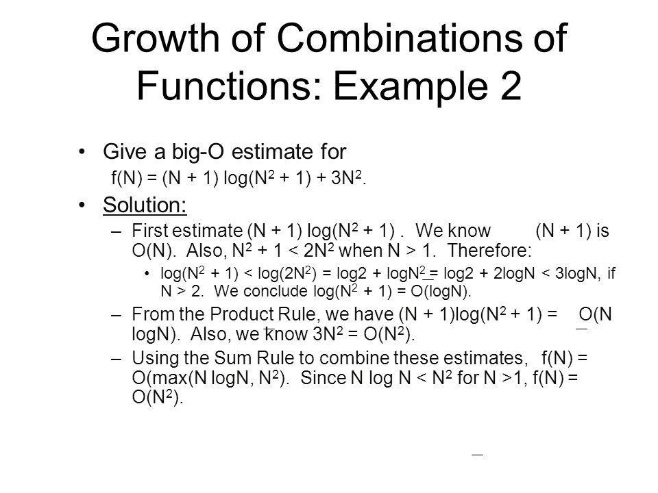 Growth of Combinations of Functions: Example 2