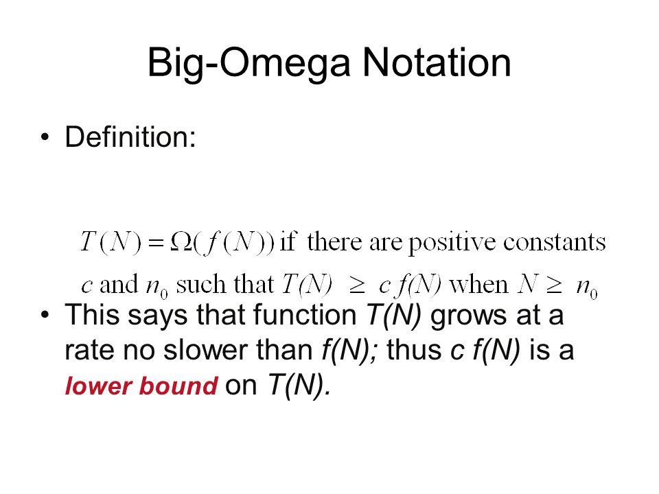 Big-Omega Notation Definition: