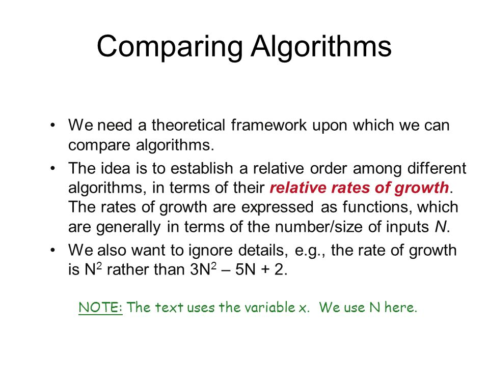 Comparing Algorithms We need a theoretical framework upon which we can compare algorithms.