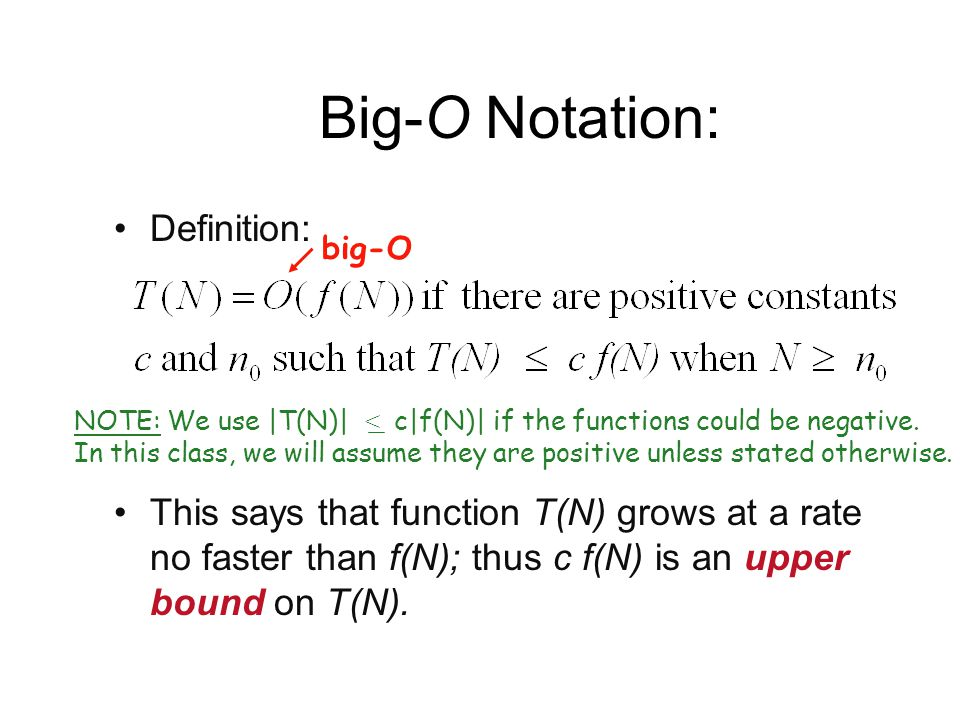 Big-O Notation: Definition: