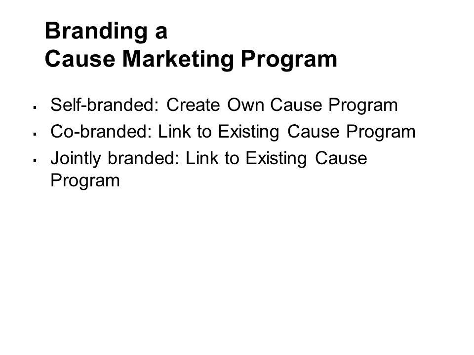 Branding a Cause Marketing Program