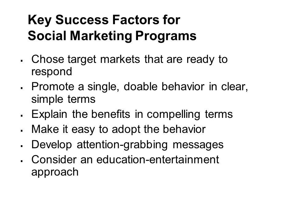 Key Success Factors for Social Marketing Programs