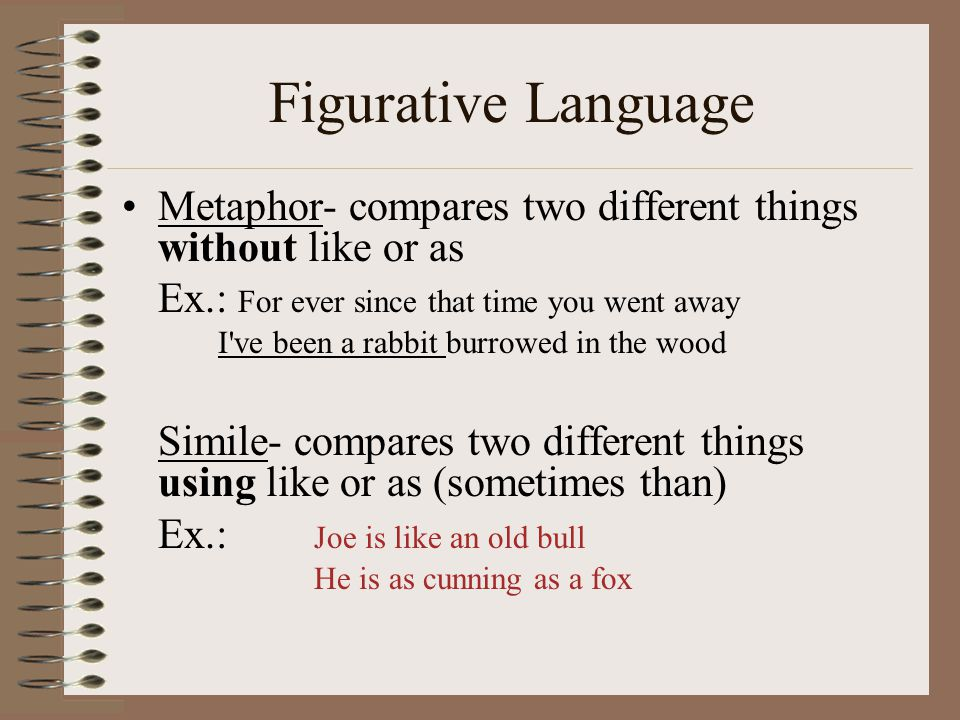 Figurative Language Metaphor- compares two different things without like or as.