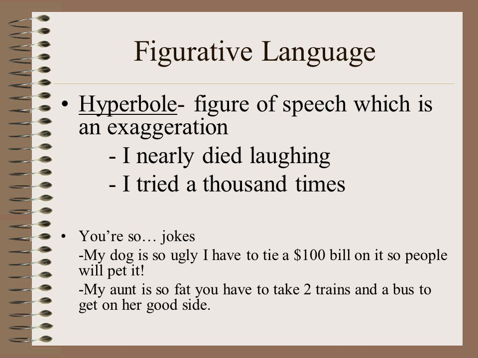Figurative Language Hyperbole- figure of speech which is an exaggeration. - I nearly died laughing.