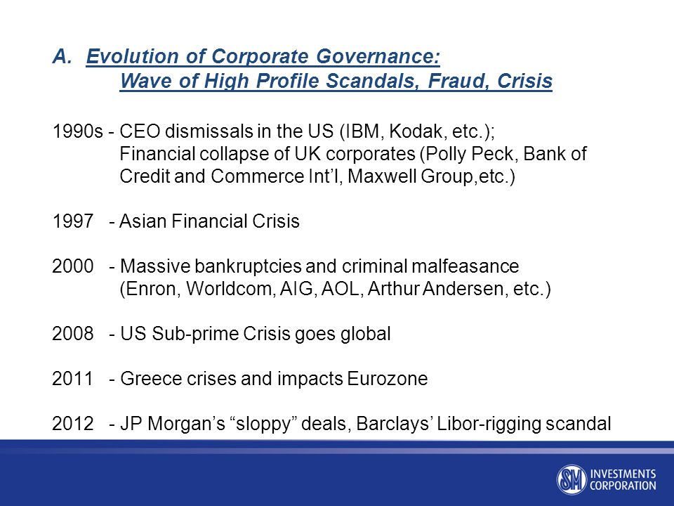 Evolution of Corporate Governance: