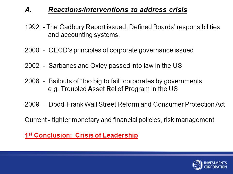 A. Reactions/Interventions to address crisis