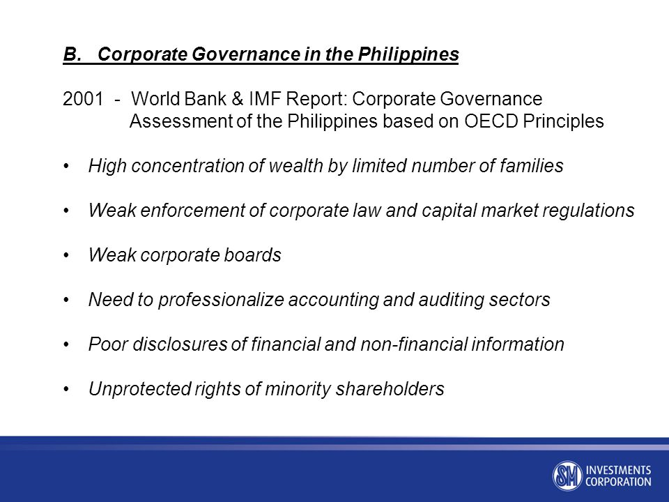 B. Corporate Governance in the Philippines
