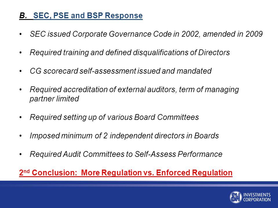 B. SEC, PSE and BSP Response