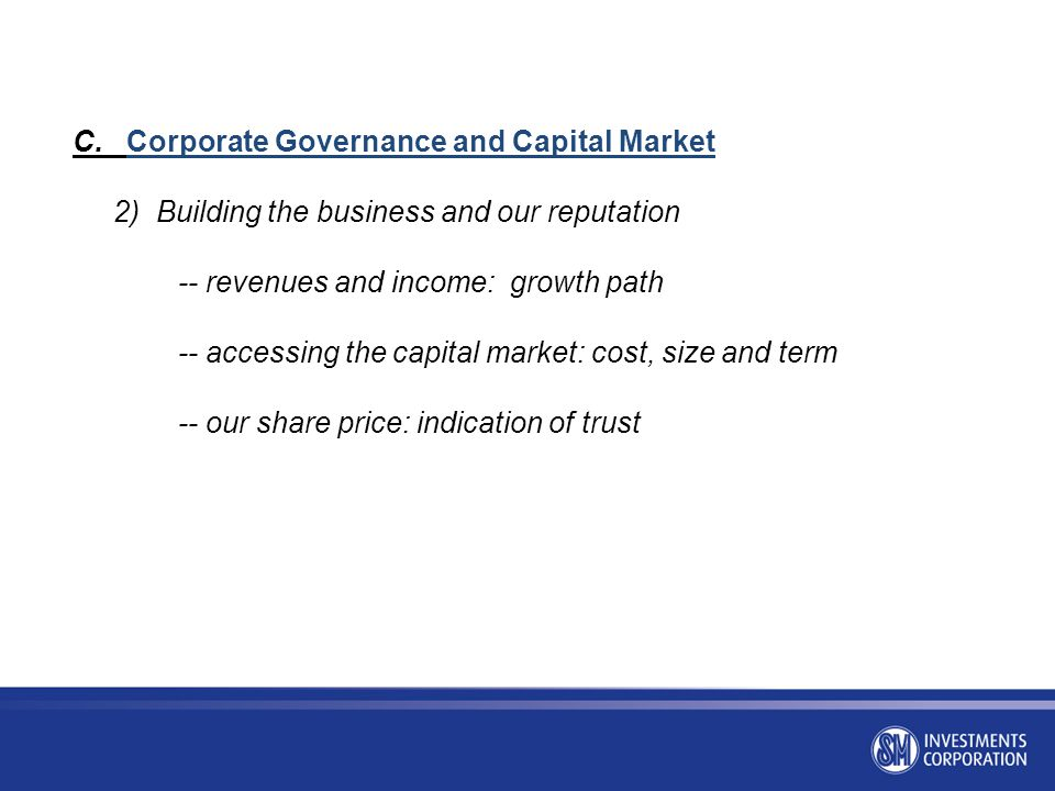 C. Corporate Governance and Capital Market