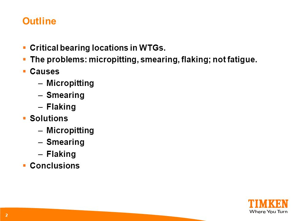 Outline Critical bearing locations in WTGs.