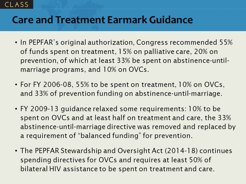 Care and Treatment Earmark Guidance