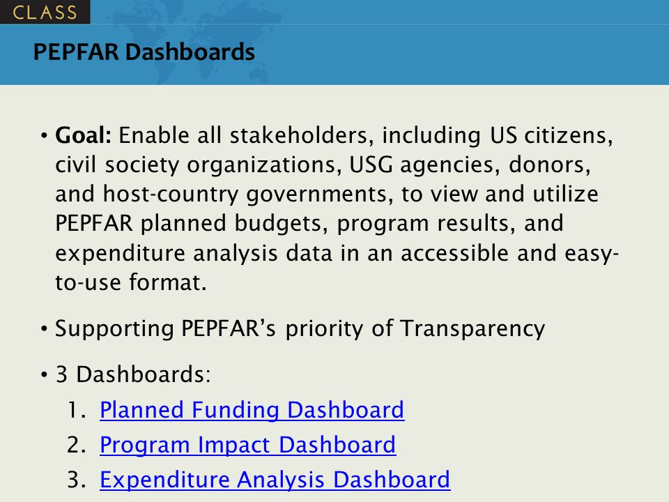 PEPFAR Dashboards