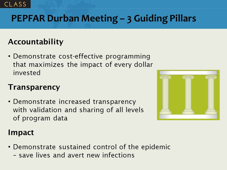 PEPFAR Durban Meeting – 3 Guiding Pillars