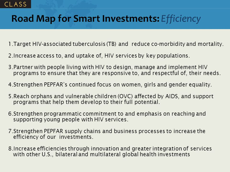 Road Map for Smart Investments: Efficiency