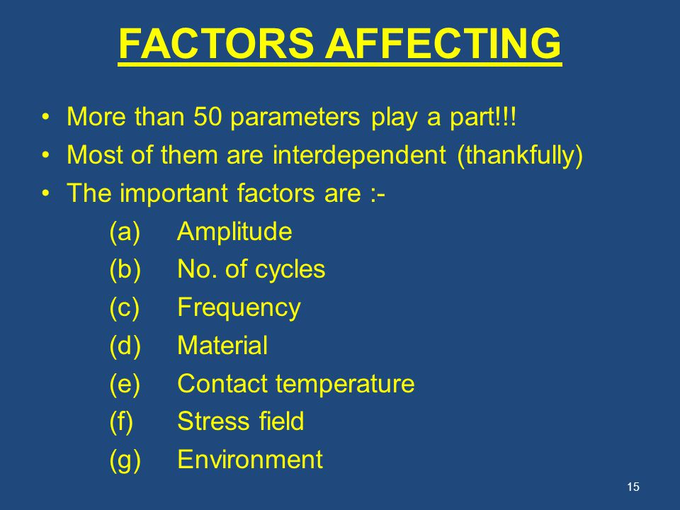 FACTORS AFFECTING More than 50 parameters play a part!!!