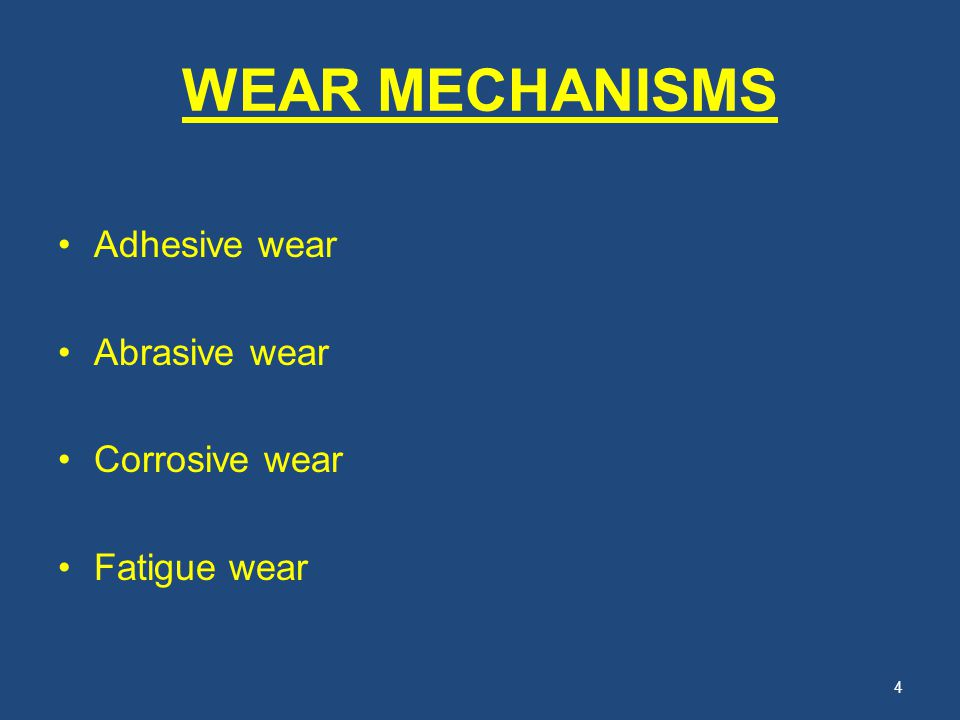 WEAR MECHANISMS Adhesive wear Abrasive wear Corrosive wear