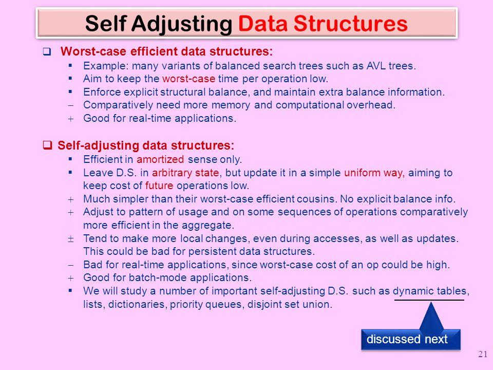 Self Adjusting Data Structures