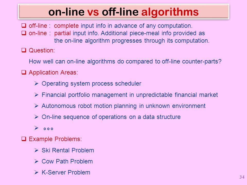 on-line vs off-line algorithms