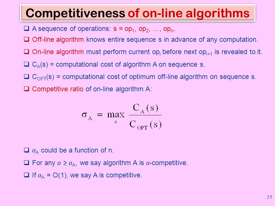 Competitiveness of on-line algorithms