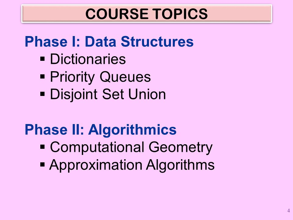 COURSE TOPICS Phase I: Data Structures. Dictionaries. Priority Queues. Disjoint Set Union. Phase II: Algorithmics.