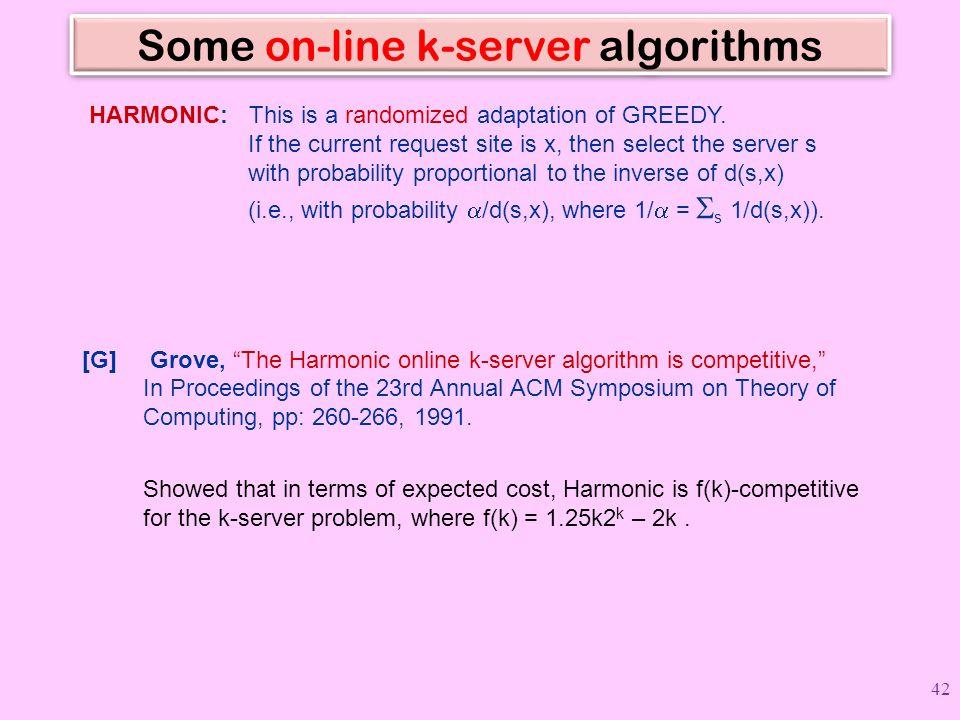 Some on-line k-server algorithms