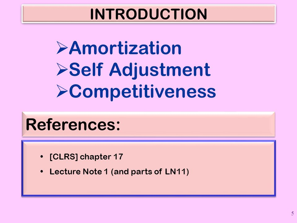 Amortization Self Adjustment Competitiveness References: INTRODUCTION