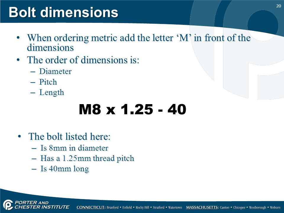 Bolt dimensions When ordering metric add the letter 'M' in front of the dimensions. The order of dimensions is: