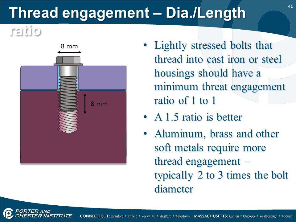 Thread engagement – Dia./Length ratio