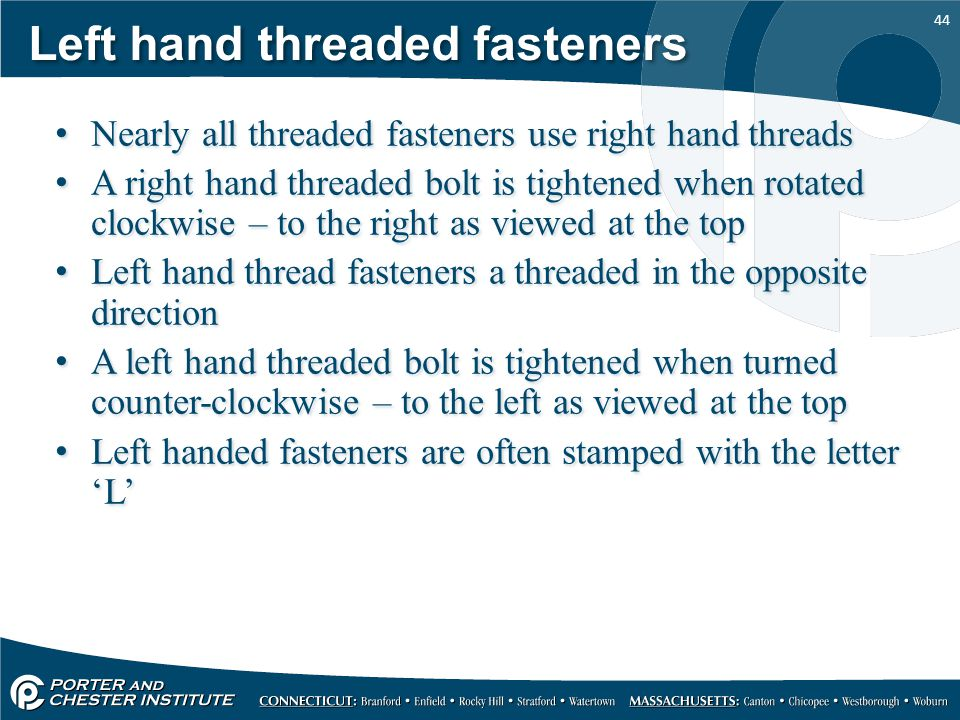Left hand threaded fasteners