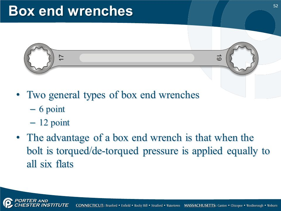 Box end wrenches Two general types of box end wrenches