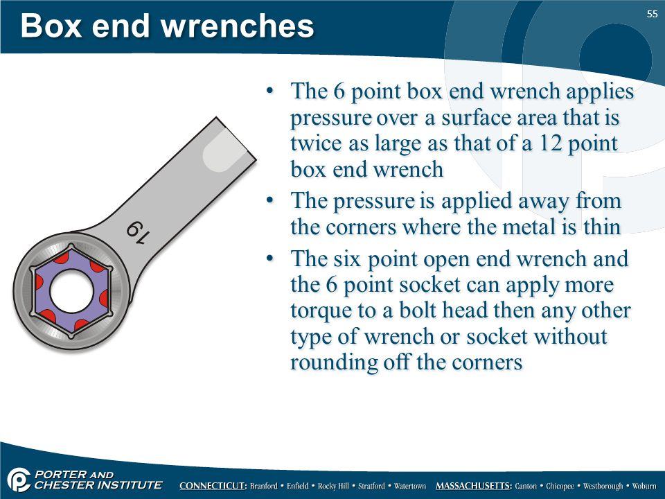 Box end wrenches The 6 point box end wrench applies pressure over a surface area that is twice as large as that of a 12 point box end wrench.