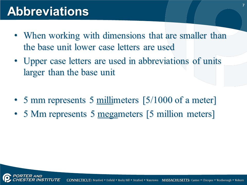 Abbreviations When working with dimensions that are smaller than the base unit lower case letters are used.