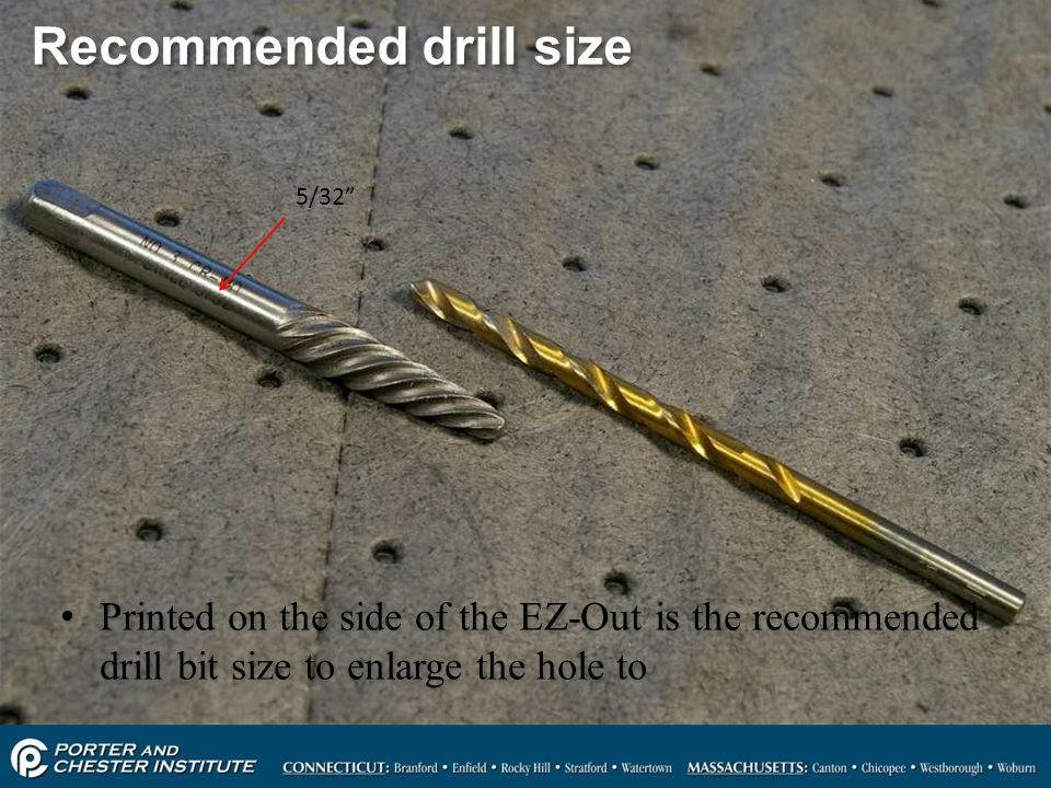 Recommended drill size