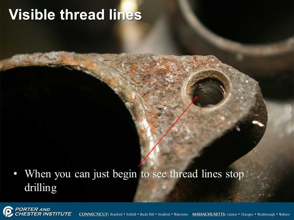 Visible thread lines When you can just begin to see thread lines stop drilling