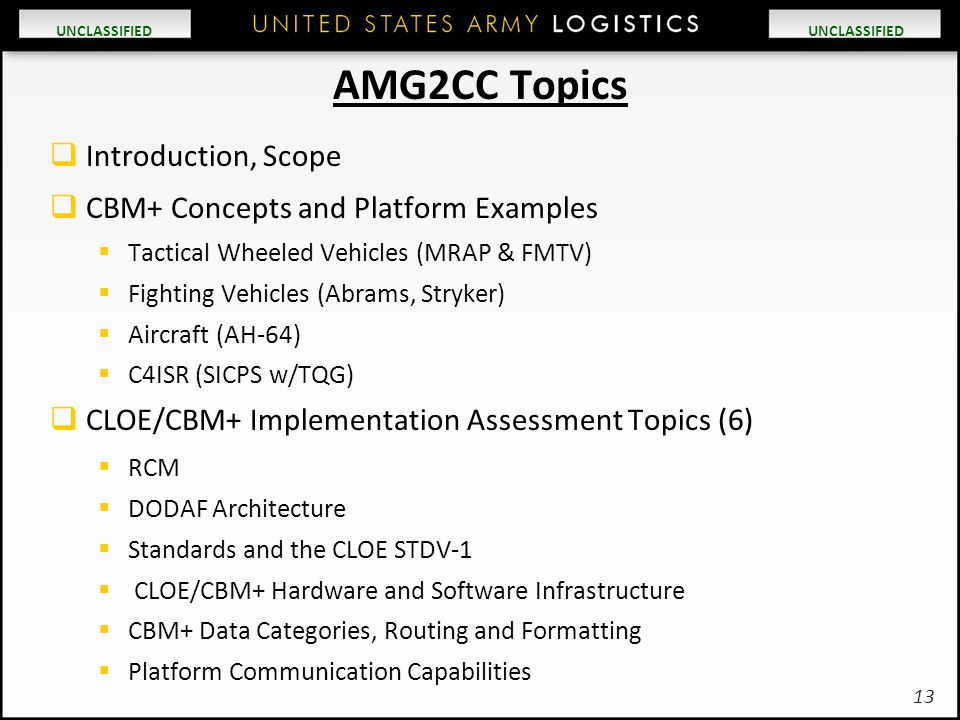 AMG2CC Topics Introduction, Scope CBM+ Concepts and Platform Examples