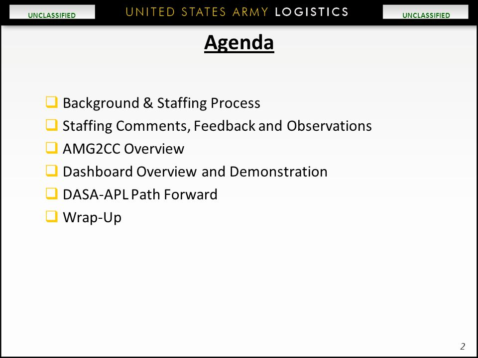 Agenda Background & Staffing Process
