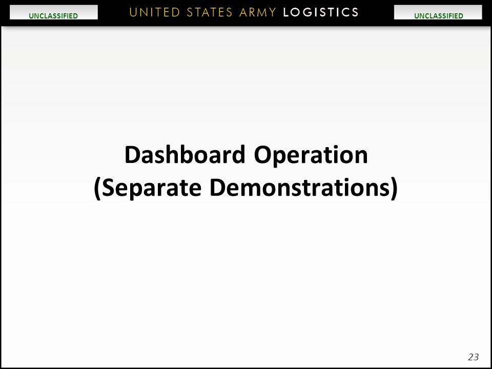 Dashboard Operation (Separate Demonstrations)