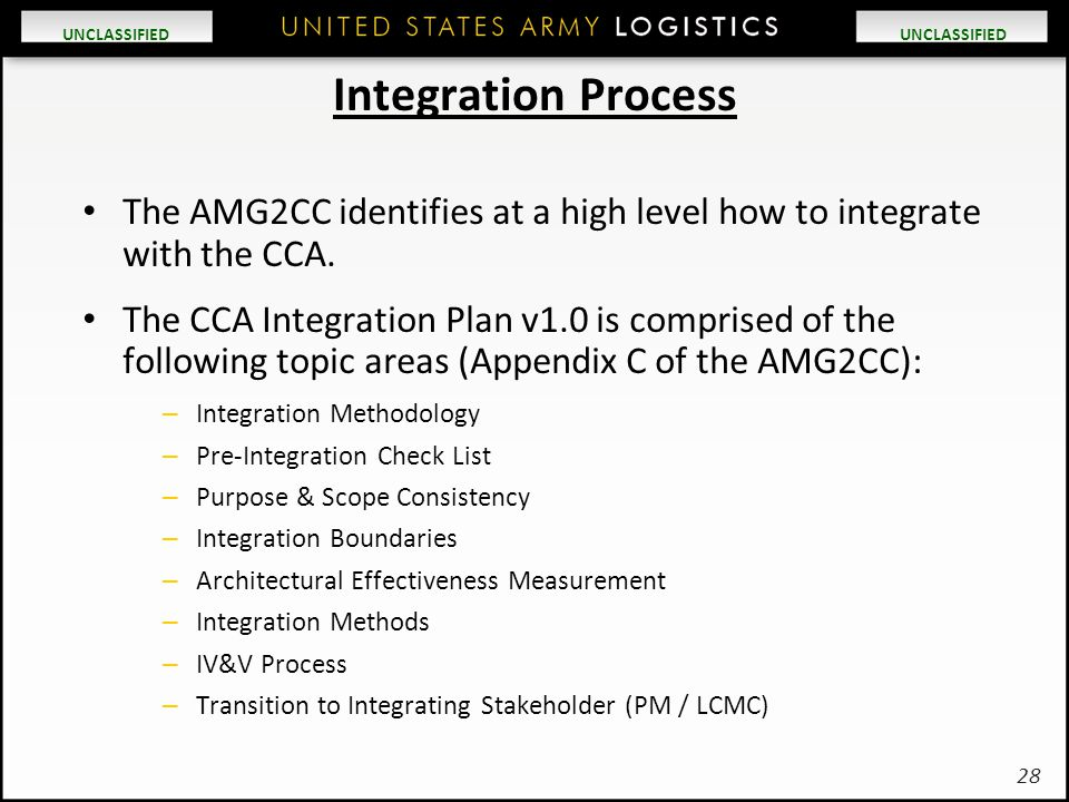 Integration Process The AMG2CC identifies at a high level how to integrate with the CCA.